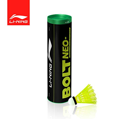 Li-Ning Bolt Neo (6 in 1) Nylon Badminton Shuttlecocks (Yellow)