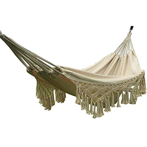 surfsexy Hamaca de camping portátil para cama de dormir con diseño de borla para interiores y exteriores