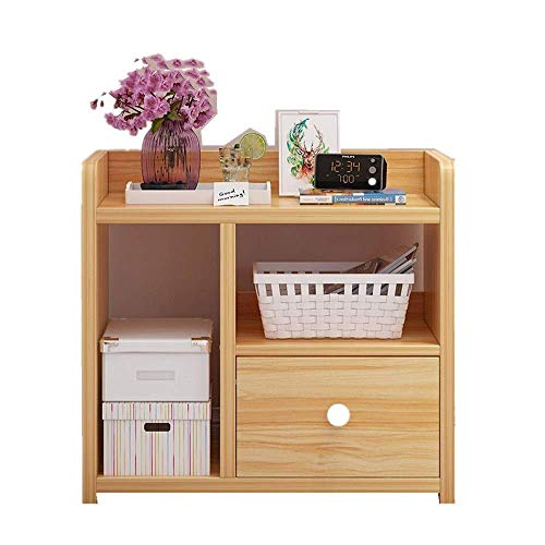 Home Equipment Nightstand Wood Nightstand with 1 Drawers Bedside Table Storage Cabinet Locker Modern Bedside Cabinet Upgraded Light Walnut Color Single Pump Bedside Tables (Color : Beige Size : 43X