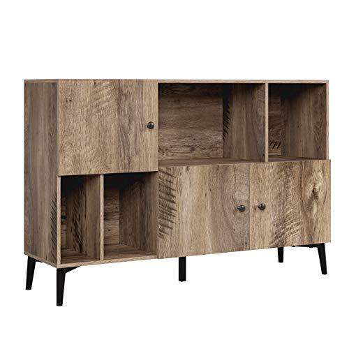 Homfa Bücherregal Bücherschrank Kommode Raumteiler mit 3 Türen 4 Fächern Nussbaum Satin 108 x 30 x 72cm