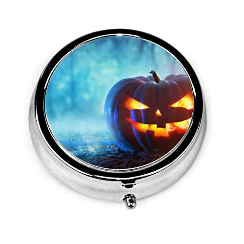 Carwayii Best Halloween 2019 Round Pill Box, Silver Pill Box Pock Medicine Case for Purse, Decorative Metal Medicine Organizer Unique Gift, for Fish Oil, Especially for Kids