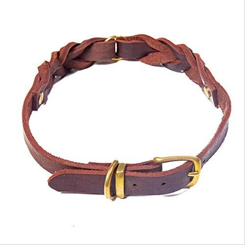 Braided Cuero Real Grande Collar Cobre Hebilla Big Dog Collars Mascota Cuello Correa Collar De Cuero Genuino para Perros Grandes Medianos Marrón
