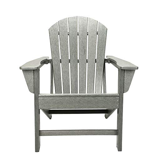 Patio Chair Folding Wood Adrondack Chair Accent Furniture for Yard, Patio, Garden (Gray)