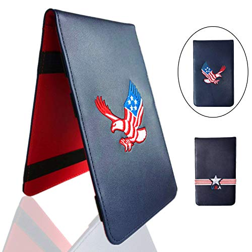 FINGER TEN Golf Scorecard Holder Yardage Cover with 2 Free Golf Pencil 2 Score Card Sheet, Deluxe Color Black Blue Brown Gift Pack (4.5' x7.7'' US Eagle)