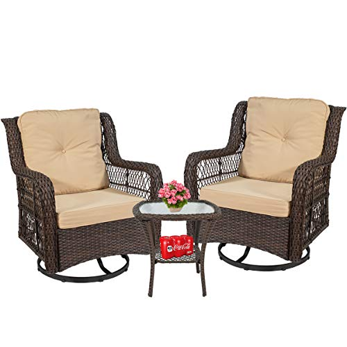 On Shine 3 Piece Patio Furniture Wicker Rattan Rocker Bistro Furniture Set Out Door Furniture Set,Rocking Chair Set with Glass Coffee Table and Comfortable Cotton Cushions (Beige)