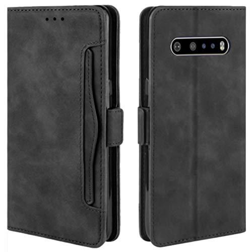 HualuBro Handyhülle für LG V60 ThinQ Hülle Leder, Flip Hülle Cover Stoßfest Klapphülle Handytasche Schutzhülle für LG V60 ThinQ 5G Tasche (Schwarz)