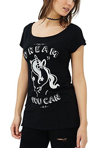 trueprodigy Casual Mujer Marca Camiseta con impresión Estampada Ropa Retro Vintage Rock Vestir Moda Cuello Redondo Manga Corta Slim Fit Designer Fashion T-Shirt, Colores:Black, Tamaño:M