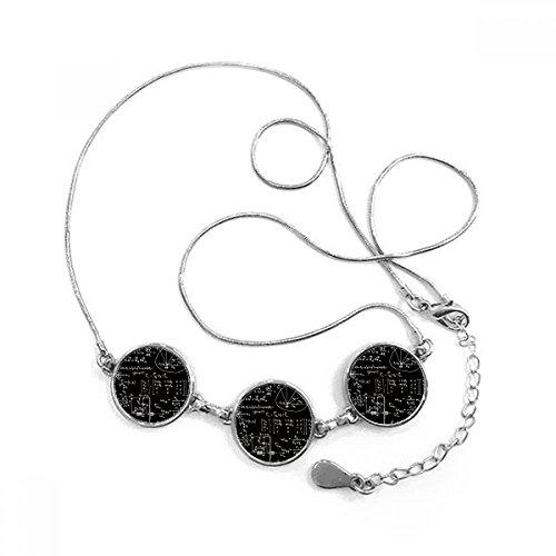 Matriz fórmulas matemáticas cálculo de la ciencia figura forma redonda colgante collar joyas con cadena decoración regalo