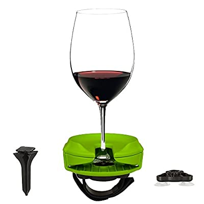 Outdoor Wine Glass Holder by Bella D'Vine – 3 Attachments include Lawn Wine Stake For Picnics, Suction Base For Boats and Hot Tubs, Strap For Patio Chairs or Rails – Fun Wine Gift