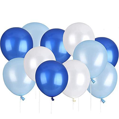 Lelengder 50 x Luftballons Blau | Luftballons | Luftballon für schöne Feiertage und Feste, Baby Shower, die Hochzeit, die zum Geburtstag, 12 Zoll, Perlglanz, Verdicken 3.2G, 3 Farbe