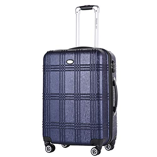 """Travel Joy Expandable Luggage Carry on Suitcase TSA Lightweight Hardside Luggage Spinner Wheels Luggage (NAVY BLUE-1, 1 pc carryon (20""""))"""