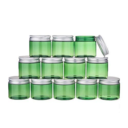BENECREAT 12 Pack 50ml Tarro Verde de Crema de Cosméticos Botella de Plástico de Viaje con Tapa de Aluminio Contenedor Vacío Rellenable de Maquillaje