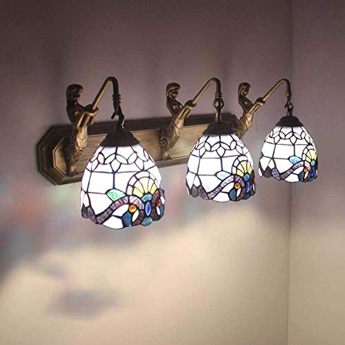 TORODWallLight Mirror schijnwerper Tiffany Style 3-armige zeemeermin-wandlamp creatieve verlichting met getint glas lampenkap wandlamp badkamer armatuur dressing spiegel kabinet D