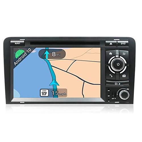 JALAL Android 10 Double DIN Car Stereo Head Units Compatible con navegación GPS 7'2G + 32G OBD WiFi Volante Dab + Carplay 4G BT, para A3 2003-2011