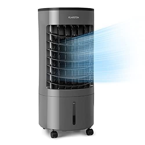 Klarstein Skypillar - Enfriador de aire 3 en 1, Caudal 228 m³/h, Potencia 60 W, 3 modos funcionamiento, Temporizador ajustable, Depósito 5 L, 2 bolsas de hielo, 4 ruedas, Panel táctil, Gris oscuro
