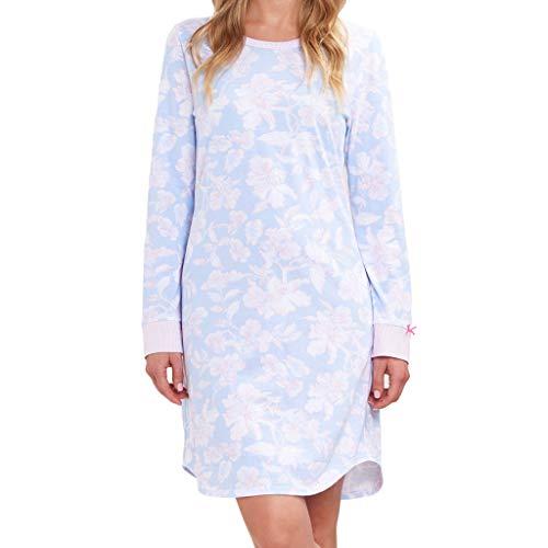 Rösch - Damen Nachthemd - 90 cm lang - Langarm (38 Arctic Blue)