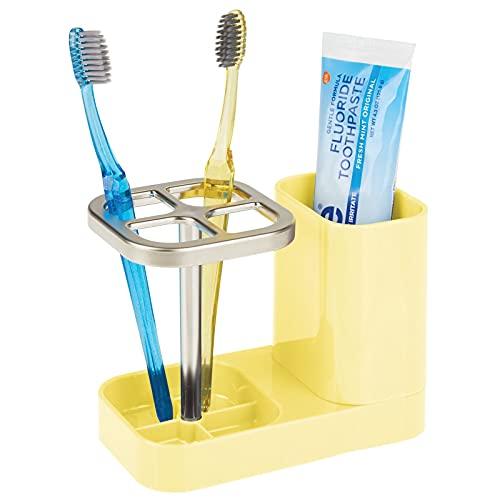 mDesign Soporte para Cepillo de Dientes – Ideal Porta Cepillo de Dientes con Vaso para Pasta Dental – Accesorios para el baño en plástico para 4 cepillos dentales – Amarillo Claro y Plateado Mate