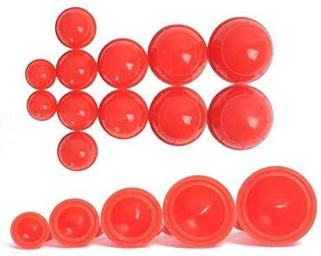 XLL 12 Tassen Silikon Medizinische Vakuum Massage Schröpfbecher Gesundheitspflege Reise Set rot