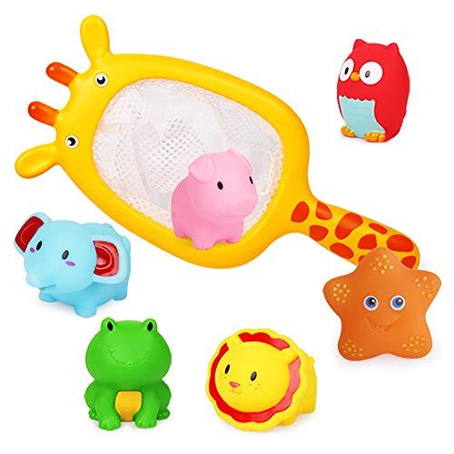Richgv 7pcs Juguetes de Bañera para Bebés, Lindos Animales Juguetes de Baño, Redes de Pesca, Juguetes de Piscina para Niños, Juguetes de Playa, Regalos para Bebés