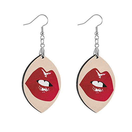 Leaf Earring Sexy Lips Fashion Earrings Women Girls for Valentine's Day Double Layered Lightweight