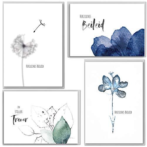 beriluDesign® Trauerkarten mit Umschlägen, 4 Klappkarten und 4 graue Briefumschläge