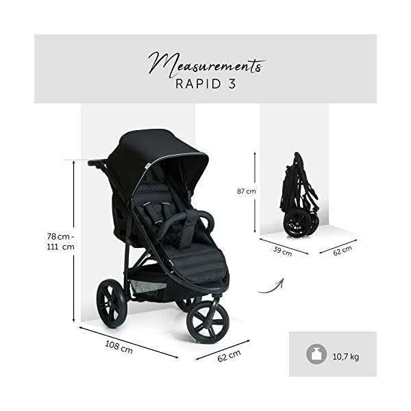Hauck Rapid 3 Wheel Pushchair up to 25 kg with Lying Position from Birth, Small Foldable with One Hand, Height Adjustable Push Handle, Large Basket - Black Hauck LONG USE: The pushchair is suitable from birth (in lying position or in combination with the separate 2-in-1 Carrycot) and loadable up to 25 kg (seat unit 22 kg + basket 3 kg) EASY TO FOLD: This stroller folds away compactly and can be then carried with one hand only by the release loop COMFORTABLE: For the kid thanks to backrest and footrest adjustable into flat position, as well as for parents thanks to height-adjustable handle and large shopping basket 5
