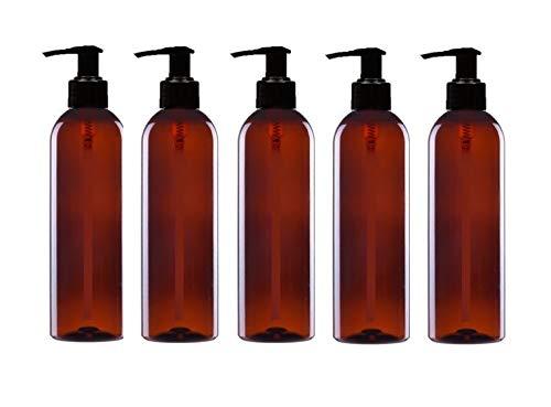 Avalon Cosmetic Packaging Lotionspender, 5Stück x 200ml, Bernsteinfarben, PET, leer, Kunststoffflaschen, mit schwarzer Pumpe–recyclebar