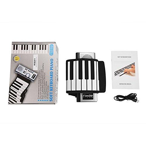 Dilwe Tragbares aufrollbares Klavier, 61 Tasten elektronische weiche Klaviertastatur Handrollende Tastatur für Kinderanfänger