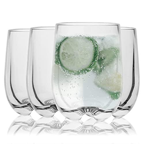 4 Pcs 225 ml Vasos de Agua Jugo,Vasos Apilables Plástico Premium Irrompible Reutilizable Vasos de Cristal Durables Vasos de agua de plástico acrílico Vasos de acrílico para acampar, barbacoa Clear