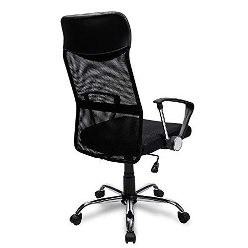 JGONas Silla de oficina ergonómica con soporte lumbar, ajustable, cómoda silla de escritorio con respaldo de malla, decoración de oficina, color negro
