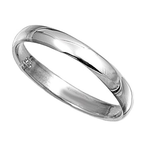 Sterling Silver Ring 4mm Band In Sizes G,H,I,J,K,L,M,N,O,P,Q,R,S,T,U,V,W,X,Y,Z (J)