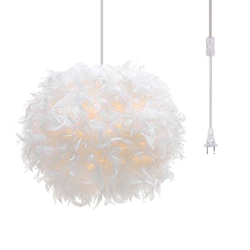 Surpars House Plug in Pendant Light White Feather Chandelier...
