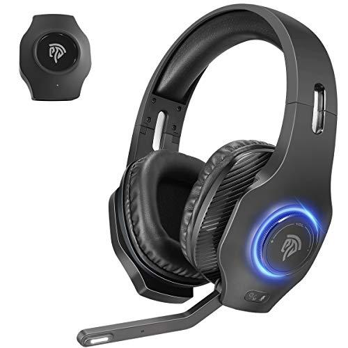 Auriculares Gaming Inalambricos PS4, PS5, EasySMX 2.4G Cascos Gaming Inalambricos 7.1 Sonidos Estéreo con 7.1 Soindos, Microfóno, RGB LED, y Control de Volumen para PS4, PS5, PC y Mac