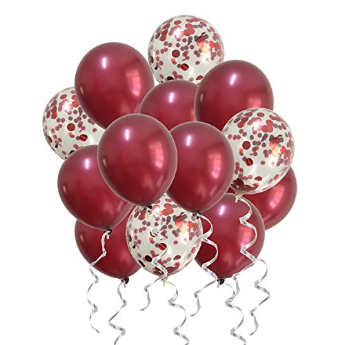 Burgundy Balloons Confetti Balloons Red for Wedding Bridal Shower Birthday Women Party Anniversary Valentines Day Decorations