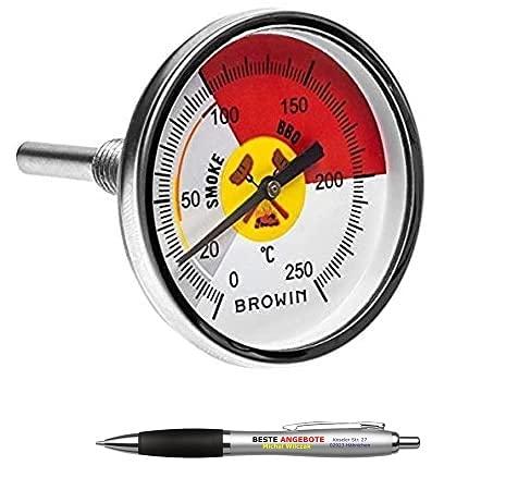 Beste Angebote Grill Thermometer 0-250°C Smoker Edelstahl Bimetall Räucherofen Gasgrill BBQ