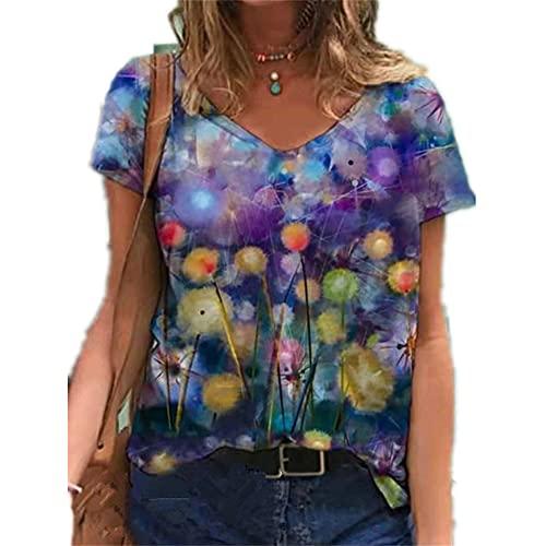 Elesoon Camiseta de verano para mujer, talla grande, manga corta, diente de león geométrico, diseño gráfico de árbol, blusa suelta, A-púrpura diente de león, 44