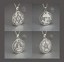 4 amuletos colgantes del rey Salomón, sellos de Salomón, monedas de Marte, luna, sol, Venus.