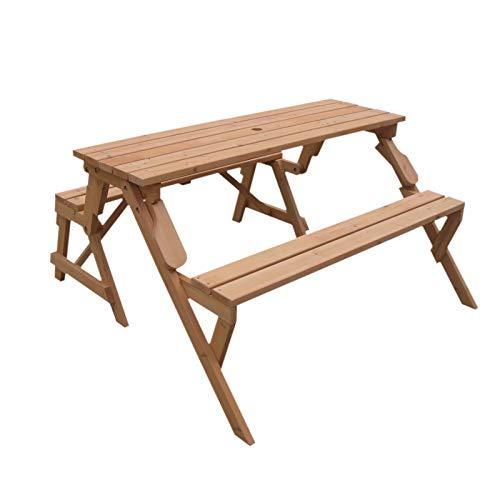 Gardiun KNH1115 - Mesa Picnic Summer de madera convertible en banco