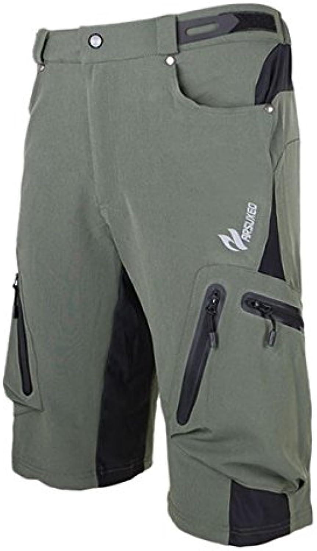 ARSUXEO Mens Sports Pants Cycling Clothing Bike Bicycle Shorts (Army green   L)