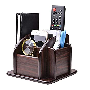 YCOCO Wood Office Supplies Desk Organizer Rack Rotating Remote Control Holder Pen Pencil Holder 6 Compartments Desktop Storage Organizer