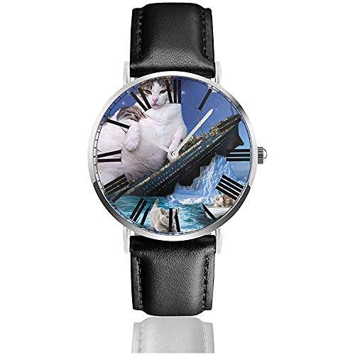 Uhr Armbanduhr Titanic Cat Sinking Kitty Fat Cats Klassische Casual Quarz Schwarzes Lederarmband Uhr Business-Uhren