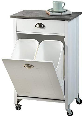 KESPER 2552613 Küchenwagen mit Mülltrennsystem, weiß lackiert, Abdeckplatte mit Bambusdekor