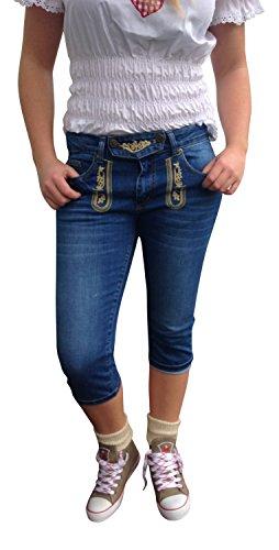 By Johanna Damen Trachtenhose Jeans Trachtenjeans Caprijeans Blau Stonewashed Stickerei 5-Pocket Lederhosen Optik Baumwolle …