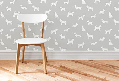 Brewster 2734-24891 Metz Taupe Dog Silhouette Wallpaper