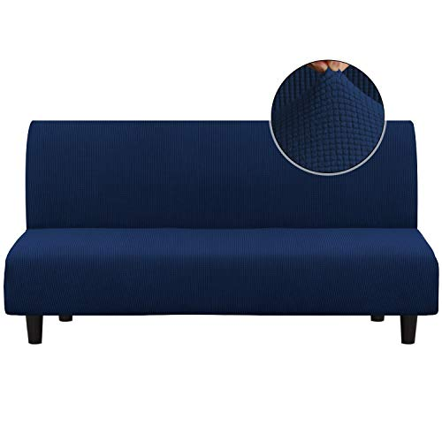 Turquoize Stretch Futon Cover Sofa Bed Cover Armless Sofa Cover Futon Couch Cover Sofa Slipcover Furniture Protector with Elastic Bottom Feature Thick Soft Checked Jacquard Fabric, Navy