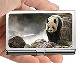 Estuche para tarjetas de visita con nombre de empresa, té Caja de tarjeta de visita con soporte de tarjeta de visita panda rock gigante de vida silvestre (acero inoxidable)