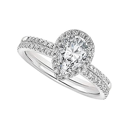 minjiSF Anillo en forma de gota de agua para mujer y mujer, diamante completo, moderno, alianzas de compromiso, alianzas de boda de alta calidad (Silver8, 8)