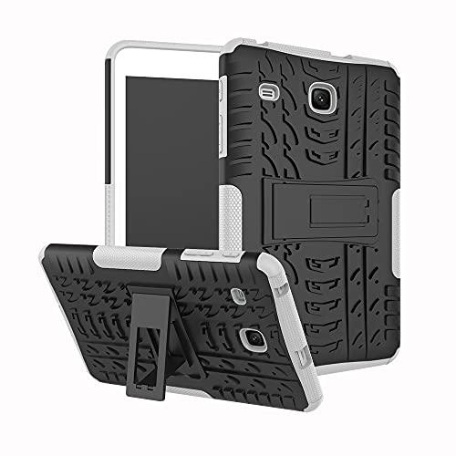 Tablet PC Bag Coperchio tablet per Samsung Galaxy Tab E 8,0 pollici 2017   T377   T378 Texture di pneumatici TPU antiurto TPU + PC Cassa protettiva con supporto per manico pieghevole ( Color : White )