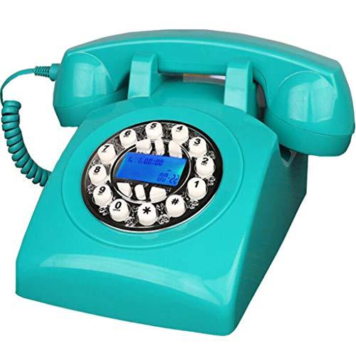 potente para casa Vintage Phone JNYTD Retro 70's Landline Real Retro Tone (Azul)