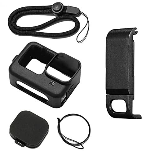 Custodia protettiva in silicone Compatibile con Gopro Hero 9 Accessori Kit Cap dell'obiettivo Cinturino a mano Nero
